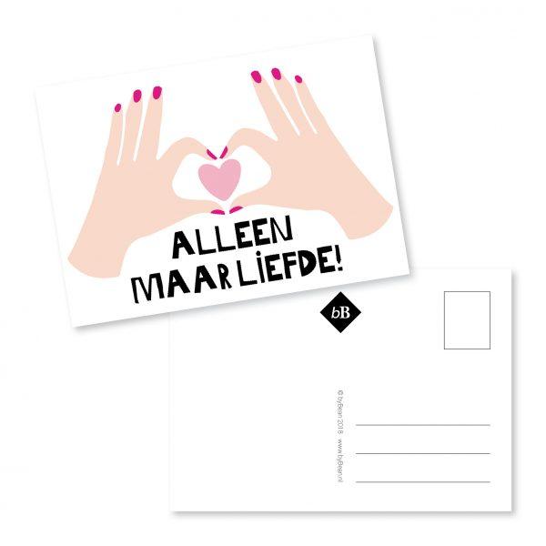 Postcard   liefde   hartjes   grafisch werk   deventer   bybean