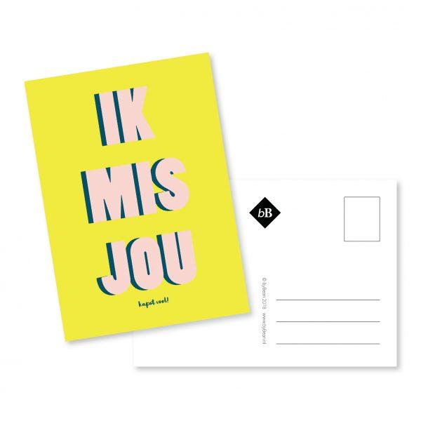 Kaartje Mockup Ik mis je | byBean