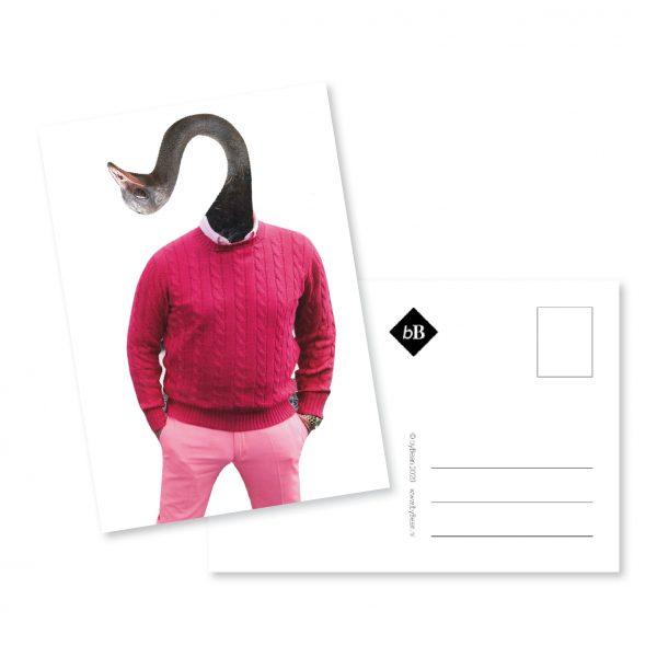 kaartje collage meneer struisvogel booninbeeld