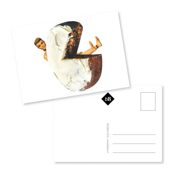A6 Kaartje Flip Feesthoed Print van origineel collage werk van BooninBeeld. Afgedrukt op 350 grams sulfaat karton met een matte afwerking.