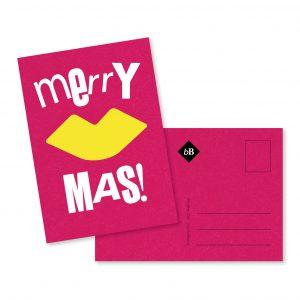 Kaartje CosmoPink Merry Kiss Mas! byBean