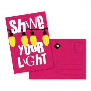 Kaartje CosmoPink Shine your light byBean