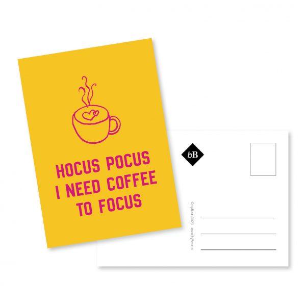 Kaartje Hocus Pocus I need coffee to focus byBean