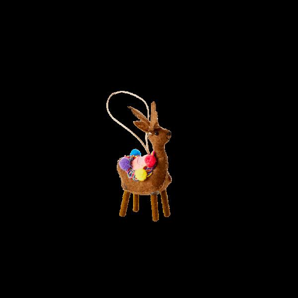 Rice | Kerstboomhanger Rendier Bruin