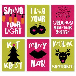 Set van 6 kerstkaarten byBean Cosmo Pink Lime Tonic
